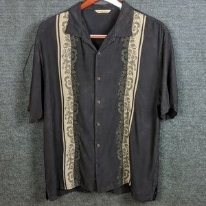 Tommy Bahama Black Silk Hawaiian Shirt XL